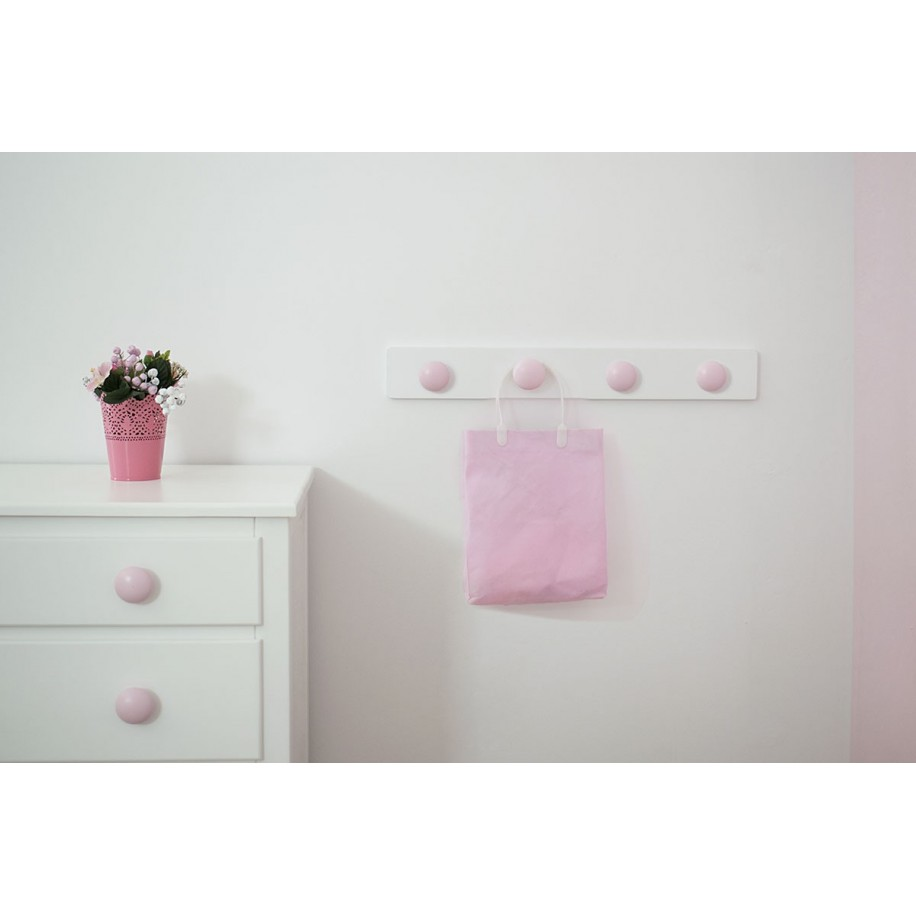 Perchero de pared para niñas Redondo Rosa