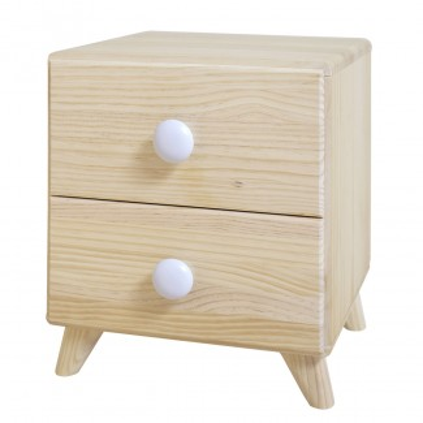 Mesita de noche Piccolo 2 cajones de madera natural